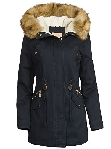 3 in 1 DAMEN WINTERJACKE BAUMWOLLE TEDDY FELL MILITARY STYLE COTTON PARKA MANTEL, Farbe:Dunkelblau, Größe:XS