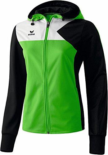 erima Damen Jacke Premium One Trainingsjacke mit Kapuze, Green/Schwarz/Weiß, 42, 107449