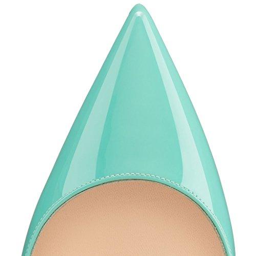 ELASHE - Femmes - Stiletto sexy - Classic talon haut- Cuir synthétique - Grande Taille - Haute couture - Talon aiguille 12CM - Bout pointu fermé Vert-Clair