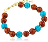 The Jewellery Factory Gold Plated Copper and Teal Murano Style Bead Bracelet of Length 24 cm