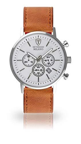 DETOMASO Milano XL Herren-Armbanduhr Chronograph Analog Quarz weißes Zifferblatt (Leder - Braun)