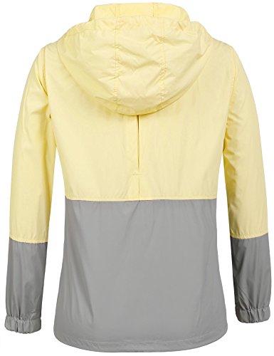 Damen Jacke Windbreaker Übergangsjacke Wasserabweisend Regenmantel Regenjacke mit Kapuze , Farbe - Gelb , Gr. S - 3