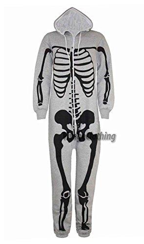 Herren Unisex Halloween Skelett All in One Onesie Jumpsuit Overall (XL, Silber Grau)