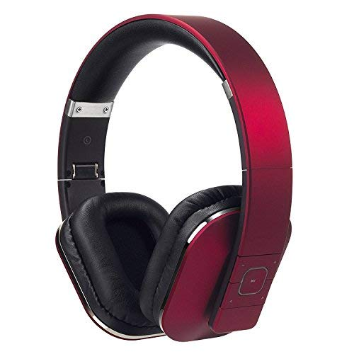August EP650 Bluetooth v4.2 NFC Kopfhörer mit aptX Low Latency - Kabellose Over-Ear Headphones mit individuellem Sound (Rot)