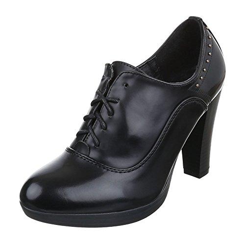 Damen Schuhe Schnürer Chelsea Boots Schnürsenkel Ankle Boots Stiefeletten Pump Schwarz