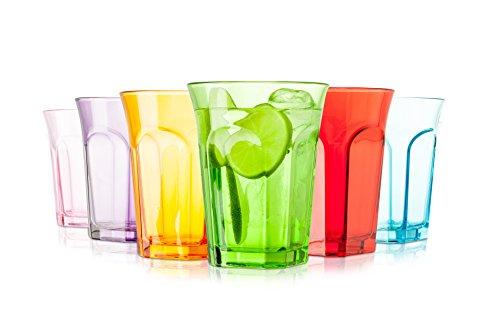 Tivoli Farbige Gläser / 6-teiliges Set / 260 ml / Wassergläser / In 6 verschiedene Farben / Spülmaschinenfest
