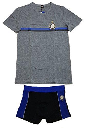Completo intimo Adulto Fc Internazionale, Boxer e t-shirt ufficiale Inter *14866 grigio melange
