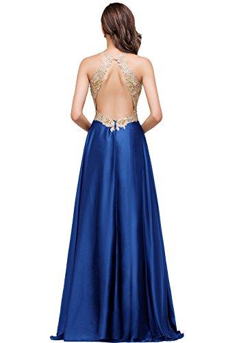 Babyonlinedress Femme Sexy Elegant Robe de Soirée/Bal/Cérémonie Col V Dos Nu Longue ras au sol avec Appliques Sequins Perles en Soie Bleu Royal