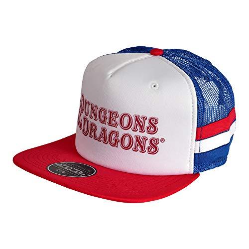 994060f5df54e NJ Screen Prints Dungeons   Dragons Logo Snapback Cap Algodón Blanco Azul  Rojo