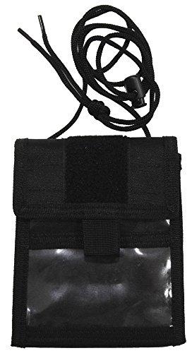 Brustbeutel mit Umhängekordel und diversen Taschen, aufklappbar, Farbe: schwarz Schwarz