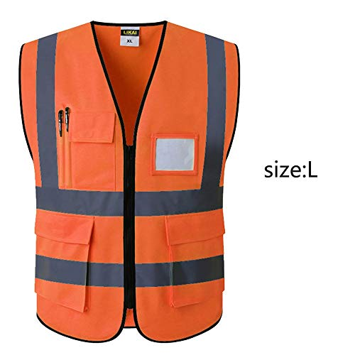 Gjrff Warnschutzweste Reflektierende Westenkonstruktion Sicherheitsweste Mit Mehreren Taschen (Color : C)