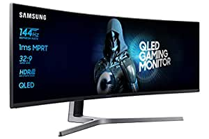 Samsung C49HG90 Monitor Curvo VA da Gaming 49'', Ultrawide 32:9, Full HD, 3840 x 1080, Quantum Dot, HDR, 144 Hz, 1 ms, 2 HDMI, 1 Display Port, 1 Mini Display Port, sRGB 125%, FreeSync, Nero