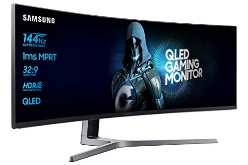 Samsung C49HG90 Monitor Curvo VA da 49'', Ultrawide 32:9, Full HD, 3840 x 1080, Quantum Dot, HDR, 144 Hz, 1 ms, 2 HDMI, 1 Display Port, 1 Mini Display Port, FreeSync, Base a Doppio Snodo Nero