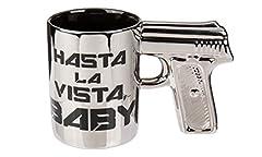 Idea Regalo - Tazza di caffè con impugnatura a pistola Silver 320ml con scritta in nero hasta la vista Baby