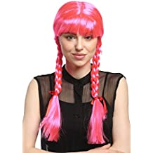 WIG ME UP ® - XR-008-PC5 Peluca mujeres Carnaval Cosplay larga Trenzas con cintas trenzadas flequillo Colegiala Lolita rosa 60 cm