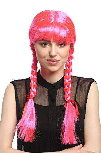 Perücke Damen Karnveval Fasching Cosplay Zöpfe Geflochten mit Schleifen Pony Schulmädchen Lolita Rosa Pink ca. 60 cm (Rosa Perücke Mit Schleife)