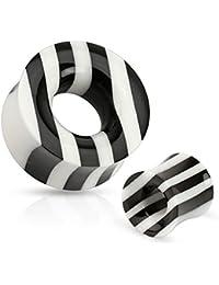 Coolbodyart Piercing Flesh Tunnel schwarz-weiß gestreift aus Büffelhorn und -knochen in 5 mm - 25mm CBAPSM099
