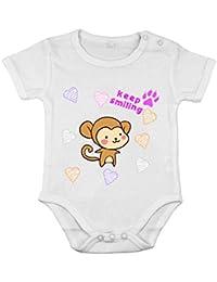 Body de manga corta de algodón para bebé recién nacido pelele mono sonriente