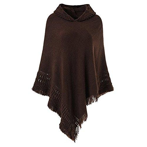 Jltph poncho maglione donna mantelle con cappuccio e frange elegante pullover a maglia manica pipistrello mantellina cape maglioni ragazza invernali blusa tunica top tinta unita