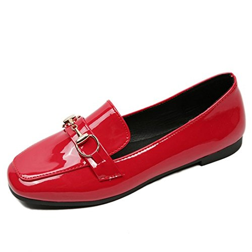 COOLCEPT Femmes Confortable Slip On Appartement Escarpins Ecole Robe Chaussures Rouge