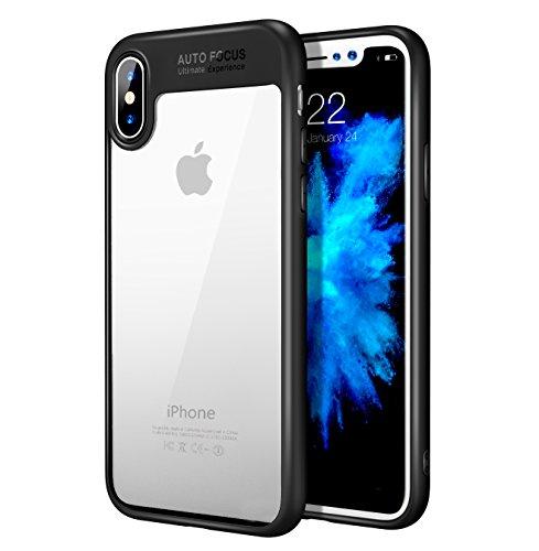 MoKo iPhone X Hülle - Durchsichtig Premium Ultra Slim Leicht weiches TPU Silikon Phone Case Anti-Kratzer Handy Schutzhülle Schale für Apple iPhone X / iPhone 10 2017 Smartphone , Schwarz Schwarz