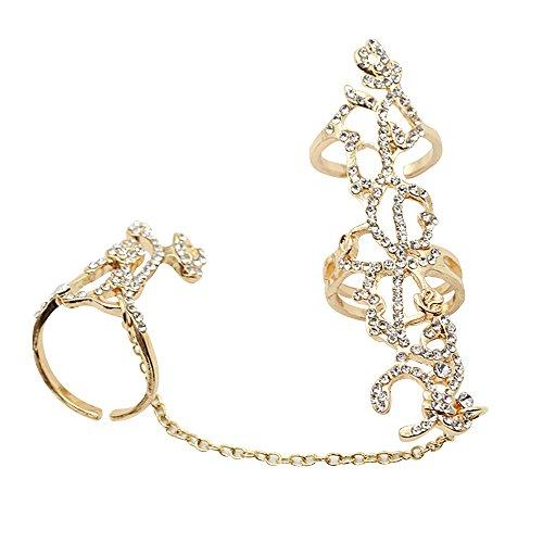 Contever® Joyería para Mujeres Rose Diseño - Cadena de Eslabones Anillo de Dedo - Diámetro interior: 1.8CM (Oro)
