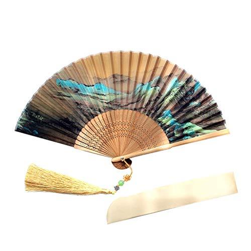 YC electronics Faltbar Handfächer für den Retro Landscape Drawing Folding Hand Fan - Stoffbezug mit Schutzgeschenken (Größe : 23 * 4cm) -