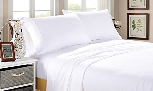 Trance Home Linen Cotton 300TC Percale Fitted Bedsheet with Pillow Covers - White (King)