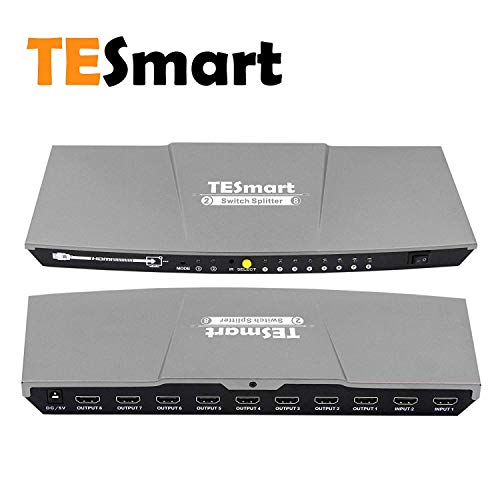 TESmart 2 In 8 Out HDMI 4Kx2K Switch Splitter 2x8 HDMI Selector with Extracted S/PDIF Audio Output 10Gbps Data Rate Video Input Selector