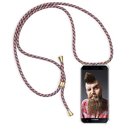 ZhinkArts Handykette kompatibel mit Samsung Galaxy S7 Edge - Smartphone Necklace Hülle mit Band - Schnur mit Case zum umhängen in Bordeaux/Rot Camouflage