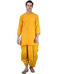 FOCIL Yellow Kurta & Dhoti Pant Set For Mens