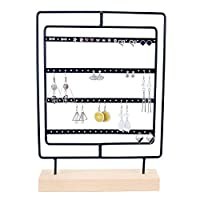 Selvian Rotating Earring Display Stand, 76 Holes Earring Organiser Hanger, 4 Layers Jewelry Stands Displays for Girls Women (Black)