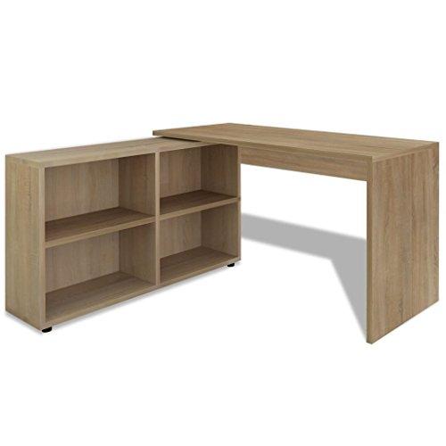 Vidaxl scrivania tavolo angolare in legno di quercia bianco con 4ripiani computer ufficio casa studio oak