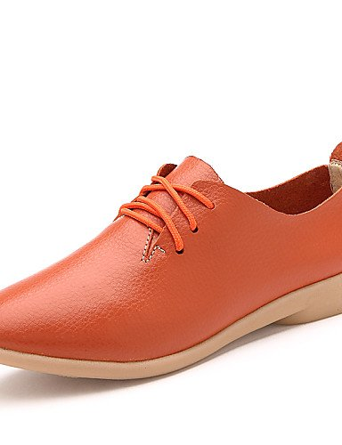 ZQ hug Scarpe Donna-Stringate-Casual-Comoda-Piatto-Di pelle-Nero / Giallo / Bianco / Arancione , orange-us9 / eu40 / uk7 / cn41 , orange-us9 / eu40 / uk7 / cn41 black-us6 / eu36 / uk4 / cn36