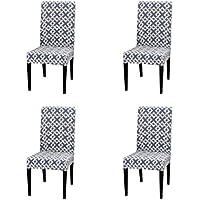 iShine Stuhlhussen 4er Set Sitzfl/äche Stuhlbezug mit Stretch Slipcover Geometrischem Muster Protector Cover f/ür Bankett Restaurant Hotel Party