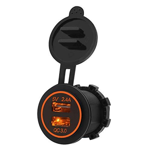 ShinePick Toma USB de Cargador,12V/24V Cargador Coche Impermeable, Dual Quick Charge 3.0...
