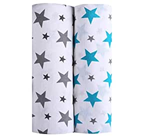 haus & kinder Twinkle Collection Cotton Muslin Swaddle Wrap for New Born Baby, Pack of 2 (Grey + Turquoise)