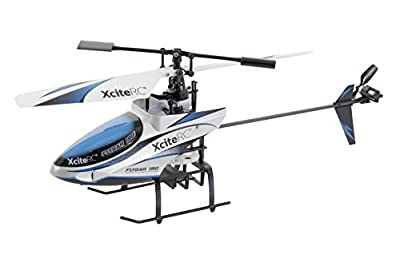 XciteRC 13005000 RC Helicopter Flybar 190 Single Blade - 4 channel Ready to Fly with 2.4Ghz Remote Control, Blue