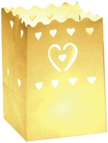 LUMINARIA 8549100 Lichtertüte Herzen klein - 10er Set, Windlicht, Papier, 11 x 16 x 9 cm, Weiß