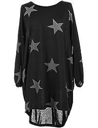Damen Oversized Long Shirt Elegant Tunika Asymmetrisch Langarm Stern-Druck Baggy Lose T-shirt Tops Bluse