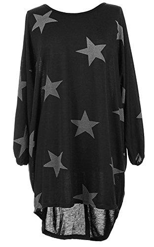 Damen Oversized Tunika Kleid Elegant Asymmetrisch Langarm Stern-Druck Baggy Lose T-shirt Tops Bluse (L, Schwarz)