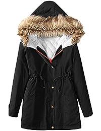 DOGZI Abrigo Mujer Invierno,Otoño Invierno Europeo y Americano Almohadilla de algodón Grueso Ropa Slim