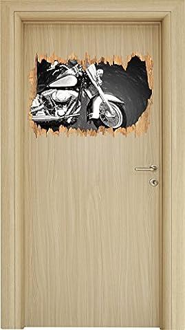 Harley Davidson Holzdurchbruch im 3D-Look , Wand- oder Türaufkleber Format: