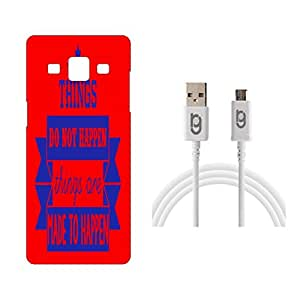 Designer Hard Back Case for Samsung Galaxy A7 with 1.5m Micro USB Cable