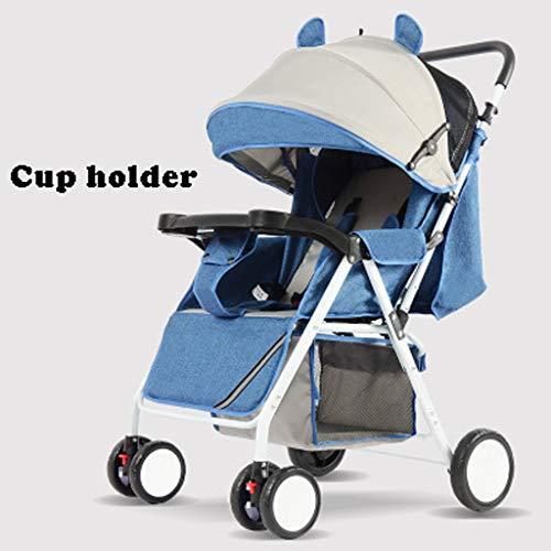 Kompakt Leicht, Rollstuhl Kinderwagen Anti Shock Folding,zusammenklappbar & Tragbar Kinderwagen, Flugzeug Mitnehmen Klein Zusammenklappbar Für Baby Ab Geburt Bis 3 Jahren (Color : Blue)