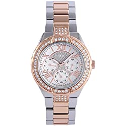 Guess Women's Quartz Watch Analogue Display and Stainless steel plated Strap W0111L4