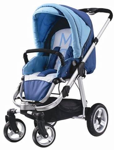 MOON 987056-222 - Kinderwagen MOON 4T, Des 222 Sky Sitz mit verstellbarer Rückenlehne Incl Multifunktionstragetasche Varius (Babywelt Moon)