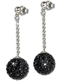 SilberDream scintillement bijoux - boucle d'oreilles boule de scintillement 12mm noir en argent 925 avec des Cristaux Swarovski Elements - GSO2822S