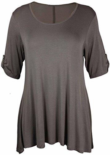 Sparkle, 3/4-Ärmel T-shirt (Purple Hanger - T-Shirt Top Damen Übergröße Elastisch Runder Ausschnitt Geknöpft 3/4 Ärmel - 54-56, Mokka)