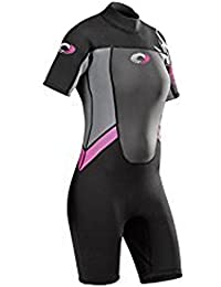 Adults Ladies Osprey Origin 3/2mm Short Sleeve / Shorty Wetsuit (Pink (Ladies), Small Long - 35.5 Chest)